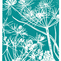 Cow Parsley dark cyan - Handcut Linocut Print