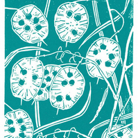 Honesty dark cyan - Handcut Linocut Print
