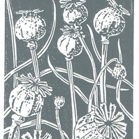 Poppy Seedhead charcoal grey - Linocut Print