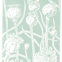 Poppy Seedhead in duck egg blue - Linocut Print