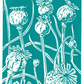 Poppy Seedhead in dark cyan - Linocut Print