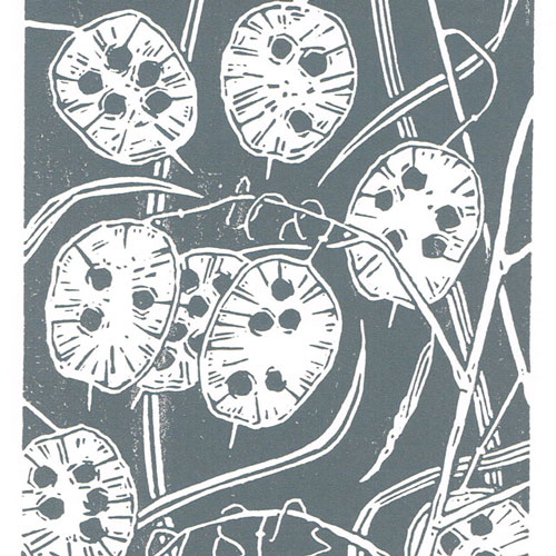 Honesty charcoal grey - Linocut Print