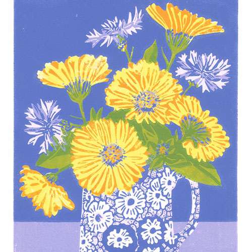'Allotment Flowers' limited edition linocut print