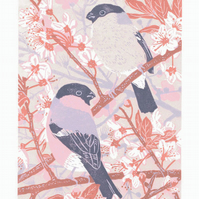 Cherry Plum Bullfinches - Original hand cut limited edition linocut print