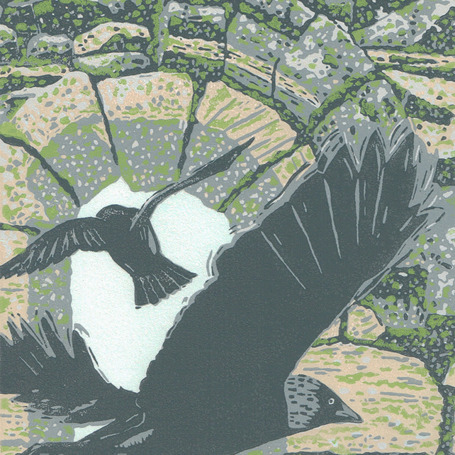 Jackdaws - hand cut limited edition linocut print