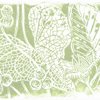 October, Black Bryony and Beech Mast - Original limited edition linocut print