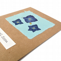 Handmade Get Well Card with Pressed Blue Hydrangea Flowers