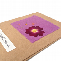 Handmade Get Well Card with Pressed Rose Flower on Purple