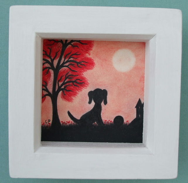 Dog Picture Framed, Dog Art, Children Gift, Black Dog, Framed Art, Dog Tree Red