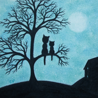 Cat Tree Card, Black Cats Moon Art Card, Mother Daughter Card, Kitten Silhouette