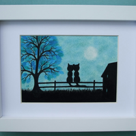 Cat Picture Framed, Engagement Gift, Love Cat Print, Romantic Art Black Cat Moon
