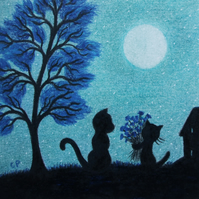 Cat Card, Birthday Flowers Card, Black Cat Card, Blue Kitten Card, Moon Tree Cat