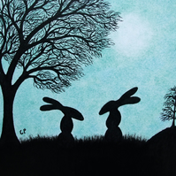 Rabbit Card, Easter Hare Card, Children Card, Bunny Moon Card, Silhouettes Tree