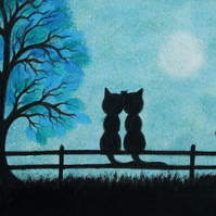 Cat Engagement Card, Romantic Moon Card, Love Cat Card, Black Cats Wedding Card