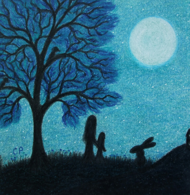 Moon Child Card, Mother Daughter Card, Blue Tree Art Card, Mother Child Rabbit