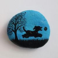 Dog Magnet: Dog Painting on Stone, Dog Gift, Painted Pebble, Dog Art Magnet Gift