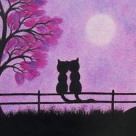 Cat Card, Romantic wedding Card, Black Cats Valentine Card, Love Purple Cat Card
