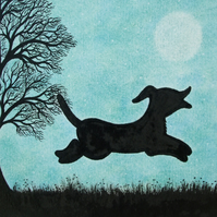 Dog Card, Dog Art Card, Children Card, Dog Art, Birthday Card, Dog Tree Art Card