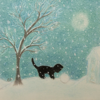 Christmas Card, Cat Tree Snow Card, Black Cat Card, Christmas Children Card Cats