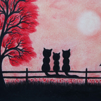 Cat Mothers Day Card, Cats Tree Card, Family Cat Card, Three Black Cats Art Card