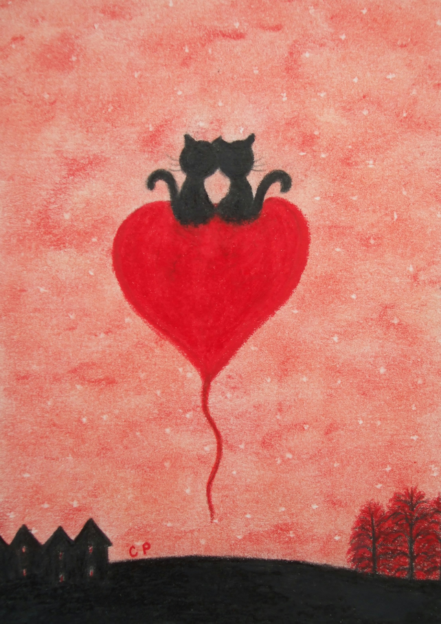 Wedding Card, Cat Heart Card, Romantic Cats, Heart Card, Cat Love Card, Art Card