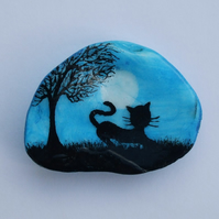 Cat Magnet, Cat Painting on Shell, Cat Art Gift, Painted Magnet, Cat Tree, Shell