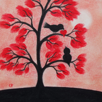 Bird Heart Card, Engagement Card, Love Birds Red Tree Card, Romantic Wedding Art