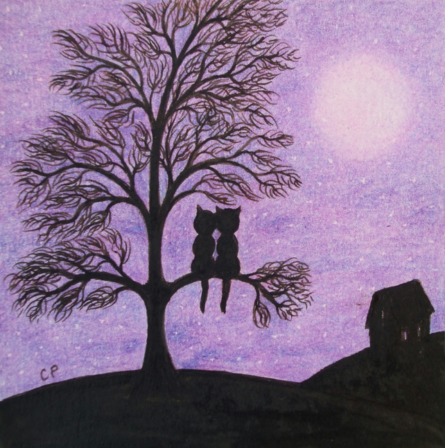 Cat Card Purple, Cat Tree Card, Romantic Cat Card, Black Cat Tree Moon, Art Card