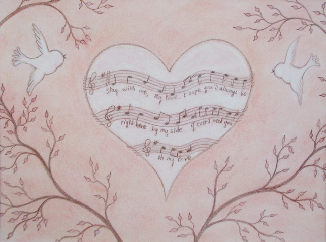 Heart Card, Music Love Card, Anniversary Heart Card, Romantic Card, Birds Music
