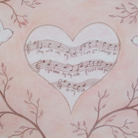 Anniversary Card Music,  Heart Card, Music Love Card, Anniversary Card Bird, Art