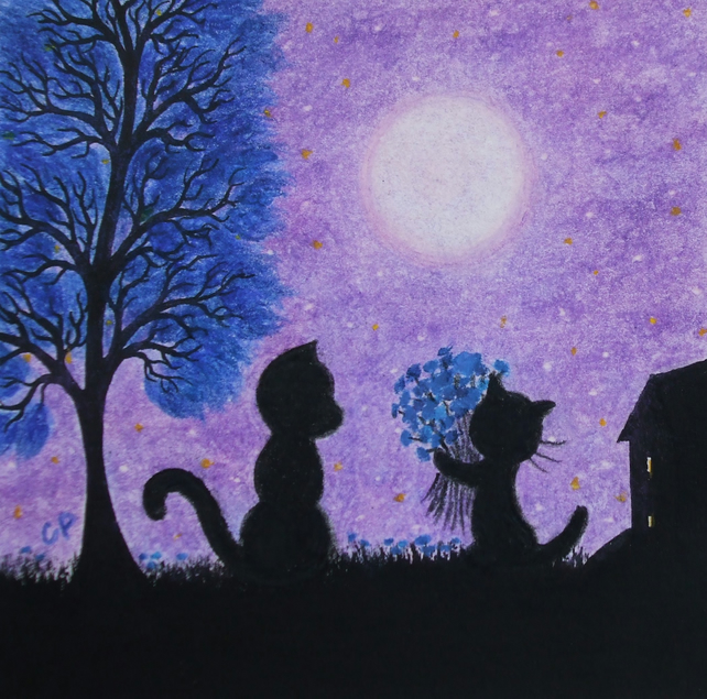 Cat Card, Purple Flowers Card, Black Cat Tree Moon Card, Kitten Card, Birthday
