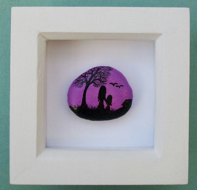 Mother Daughter Painting on Stone: Mothers Day Gift, Pebble Art Framed, Child