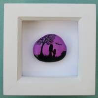 Mother Daughter Painting on Stone: Framed Rock Art Gift, Hand Painted Pebble