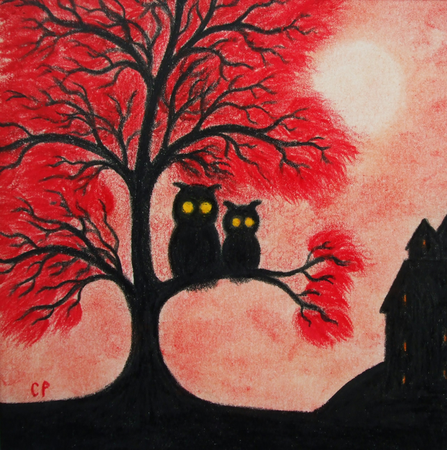 Owl Card, Halloween Card, Owls in Red Tree, Silhouette Art Card, Halloween Owls
