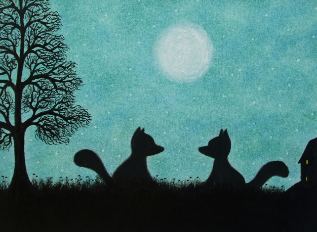 Fox Card, Two Foxes Moon Tree Card, Animal Card, Fox Silhouette Card, Kids Card