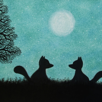 Fox Card, Moon Art Card, Two Foxes Silhouette Card, Kids Card, Animal Card, Tree