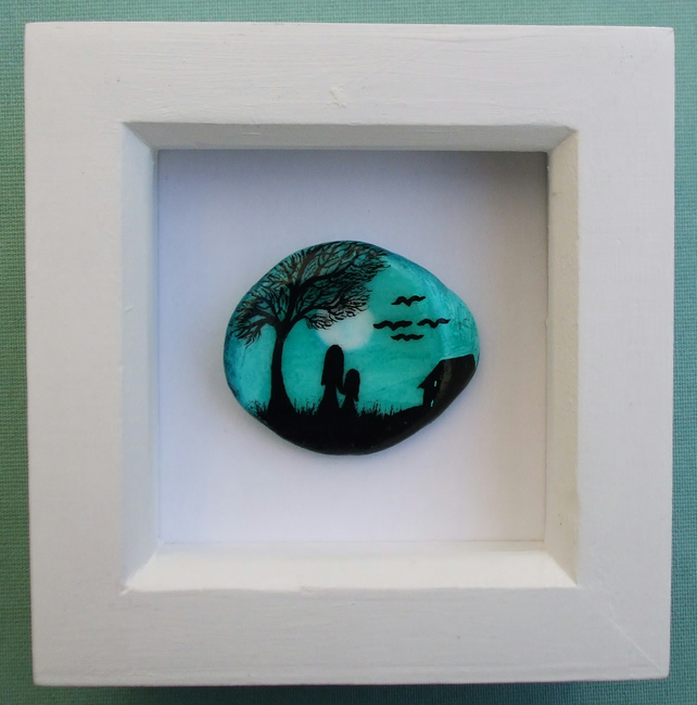 Painted Shell: Mother Child Painting, Birthday Gift, Framed Shell Moon Child Art