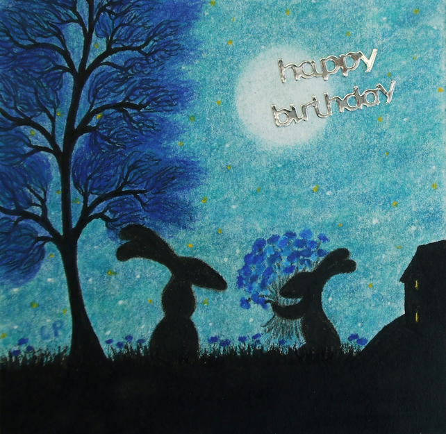 Birthday Card, Rabbits Card, Birthday Art Card, Rabbits Flowers Card, Children