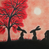 Rabbit Card, Red Bunny Card, Hare Art Card, Two Black Rabbits, Blank Card Kids