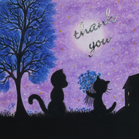Thank You Card: Cat Flower, Thank You Art Card Cats, Purple Thank You Card, Cat