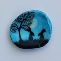 Hand Painted Shell: Rabbits Painting on Shell, Rabbit Art, Rabbits Tree Moon Art