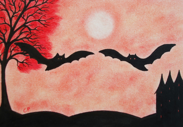 Bat Card, Halloween Silhouette Card, Bats Tree Art Card, Halloween Art, Red Tree