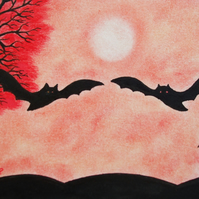 Bat Card, Bat Art Card, Anniversary Card, Bat Silhouette Card, Red Tree Bat Card