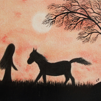 Horse Card: Horse Art Card, Horse Girl Card, Horse Moon, Horse Silhouette Card