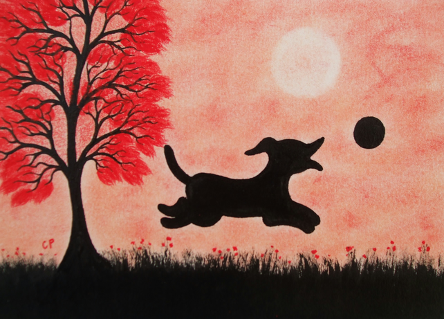 Dog Card: Kids Card Dog, Art Card, Black Dog, Red Tree Dog Card, Children Card