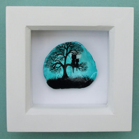 Cats in Tree Painting on Shell: Cat Art, Framed Painted Shell, Tree Painting Cat