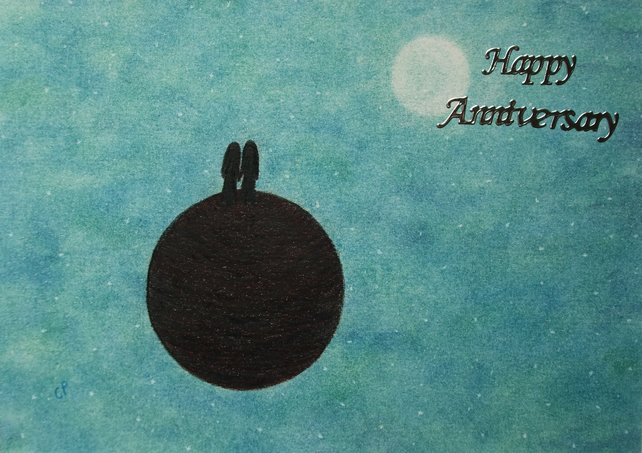 Anniversary Card Moon Stars, Anniversary Card Couple Space, Anniversary Art Card