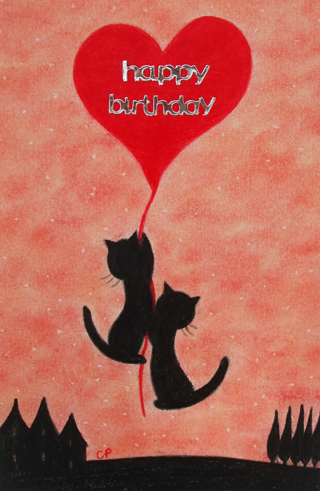 Birthday Cat Card, Birthday Heart Card, Cats Heart Card, Cat  Birthday Art Card,