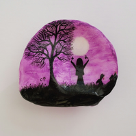 Painted Shell, Silhouette Painting on Shell, Girl Moon Tree Art, Unique Art Gift