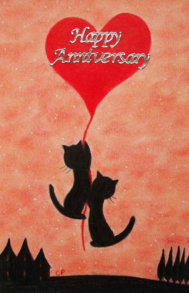 Anniversary Card: Cats Heart Card, Anniversary Cats Card, Anniversary Heart Card
